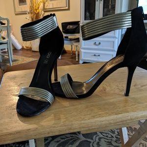 Aldo black suede back zip 4 inch heels